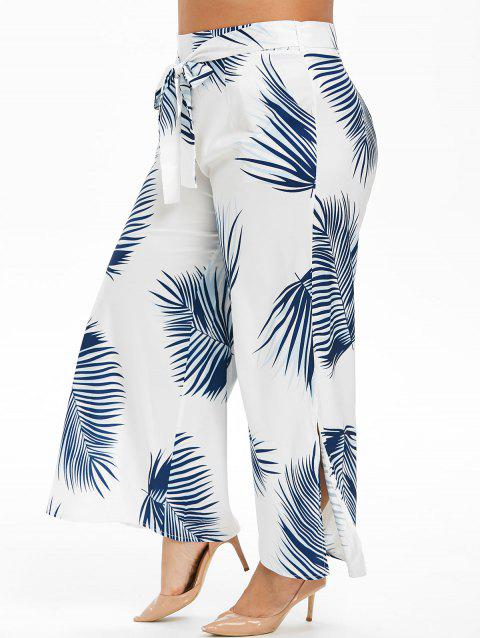 Leaves Print Slit Belted Plus Size Wide Leg Pants - WHITE 2X