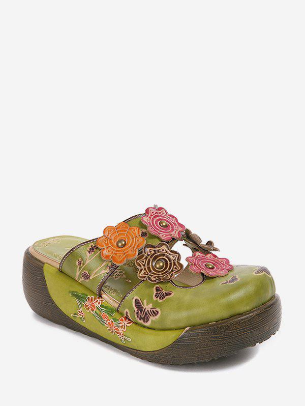 Ethnic Flower Butterfly Design Platform Slides - CLOVER GREEN EU 37