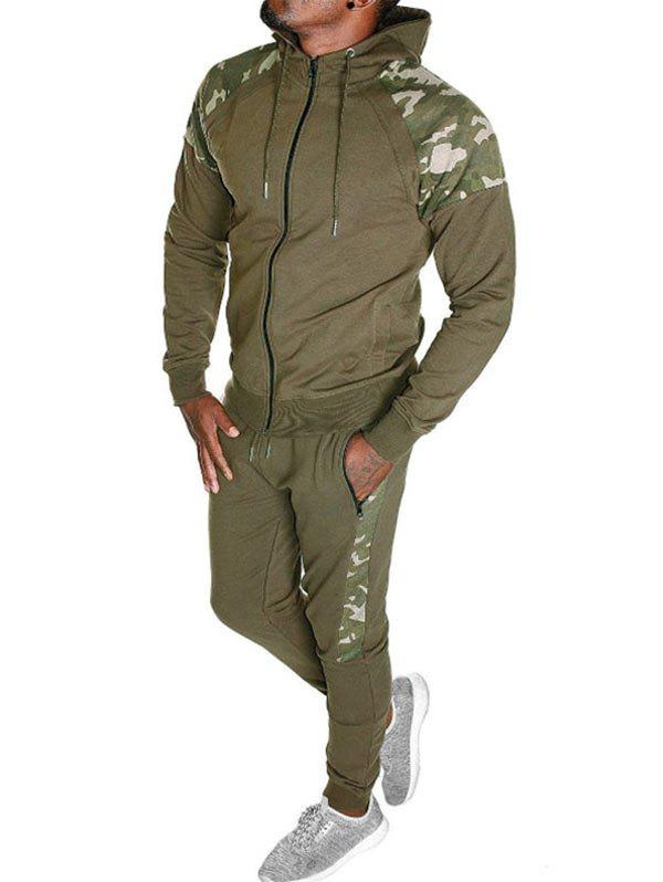 Camo Spliced Print Casual Sports Suit - WOOD M