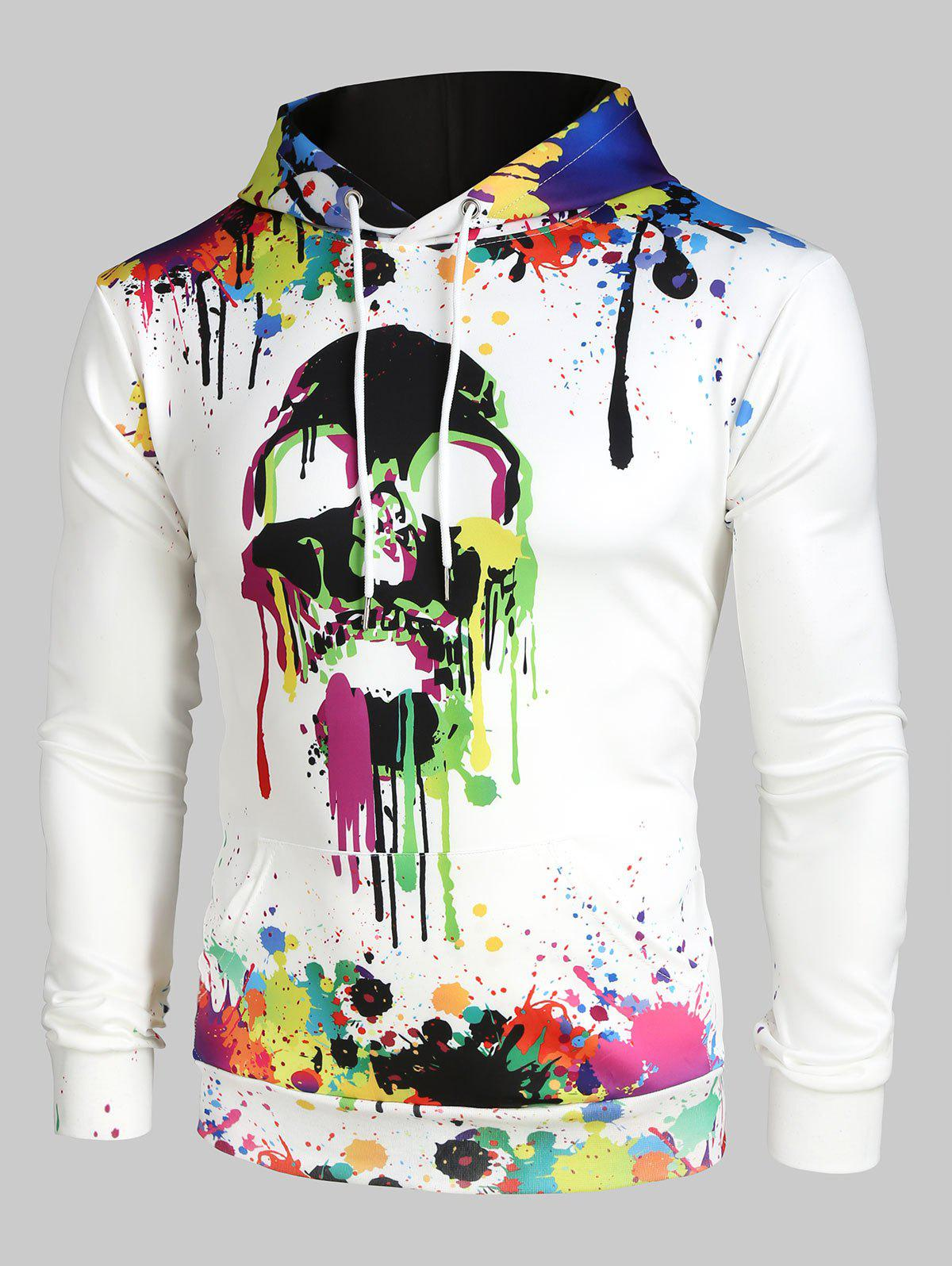 Colorful Painting Splatter Skull Print Kangaroo Pocket Halloween Hoodie - multicolor XL