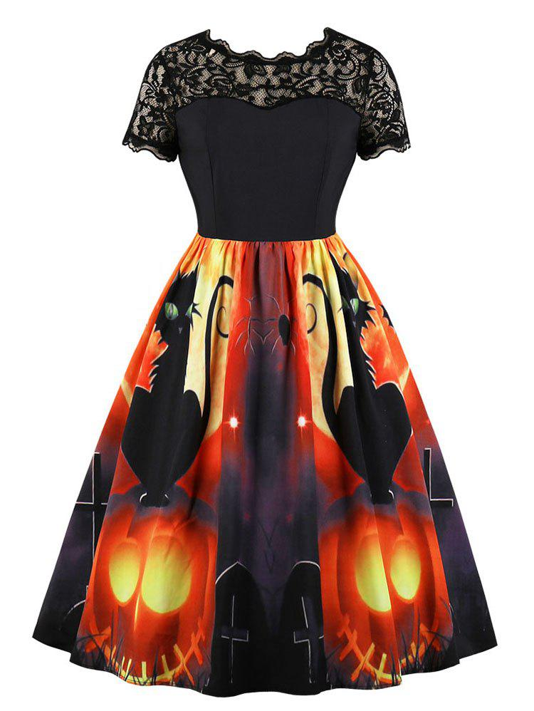 Lace Panel Pumpkin Print Halloween Flared Dress