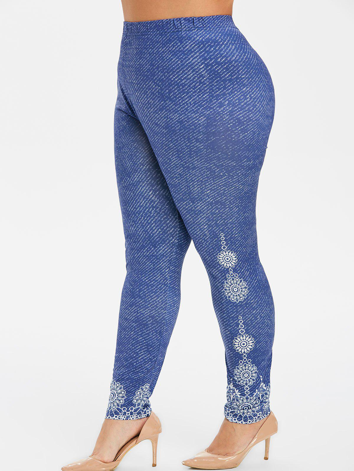 High Waisted 3D Printed Plus Size Leggings - DEEP BLUE 3X