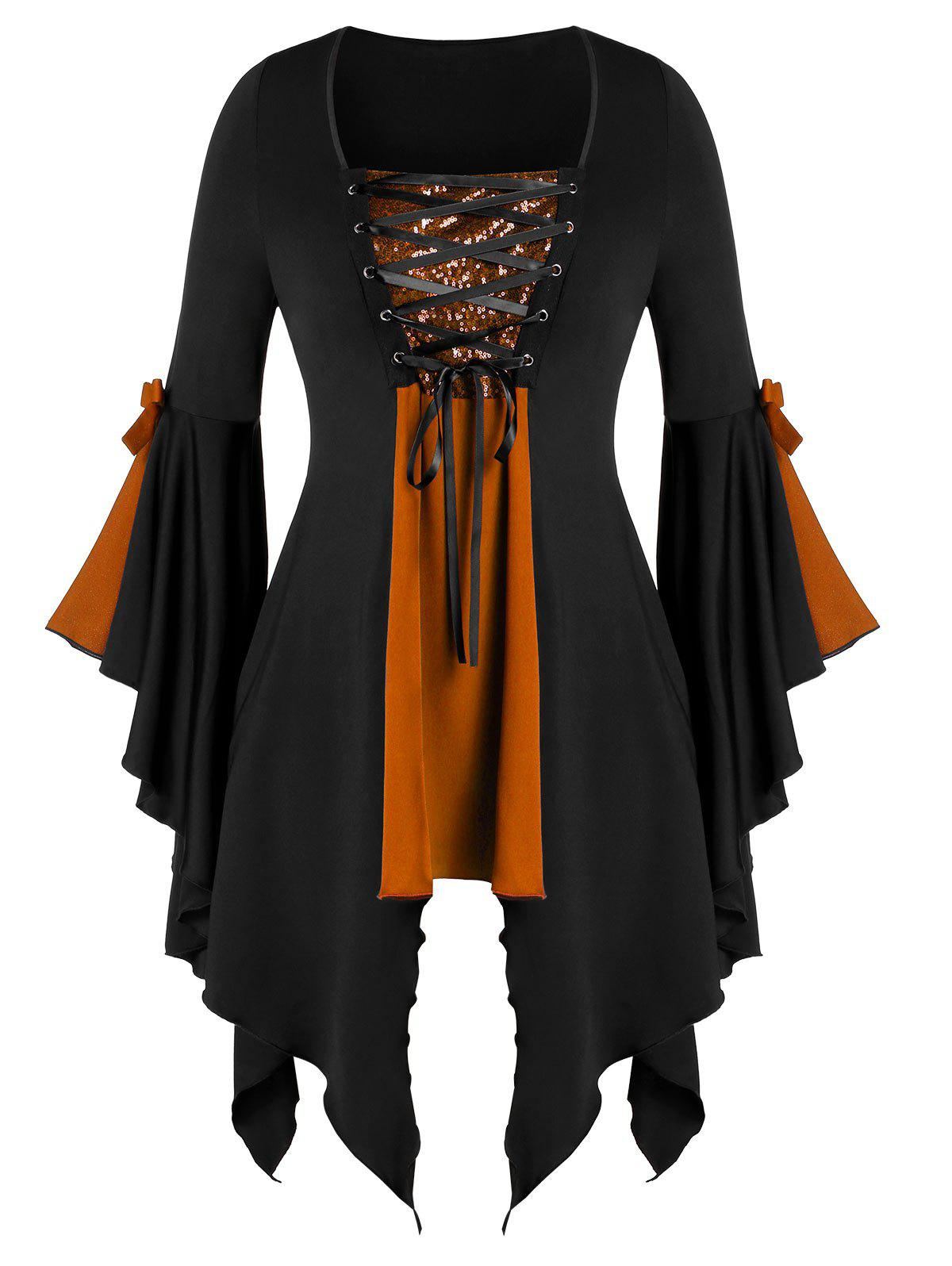 Plus Size Asymmetrical Sequined Lace Up Gothic Tunic Tee