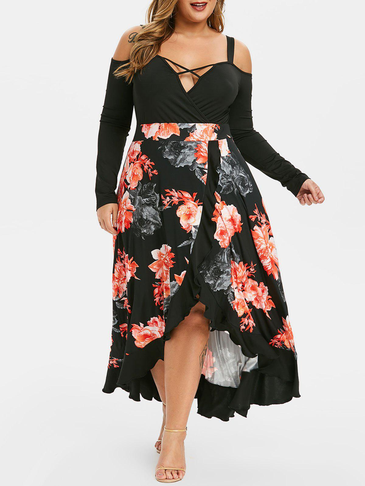Plus Size Cold Shoulder Floral Print Flounce Maxi Dress - BLACK 1X