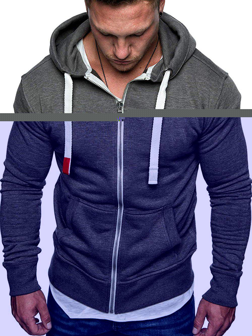 Drawstring Zip Up Pockets Fleece Hoodie фото