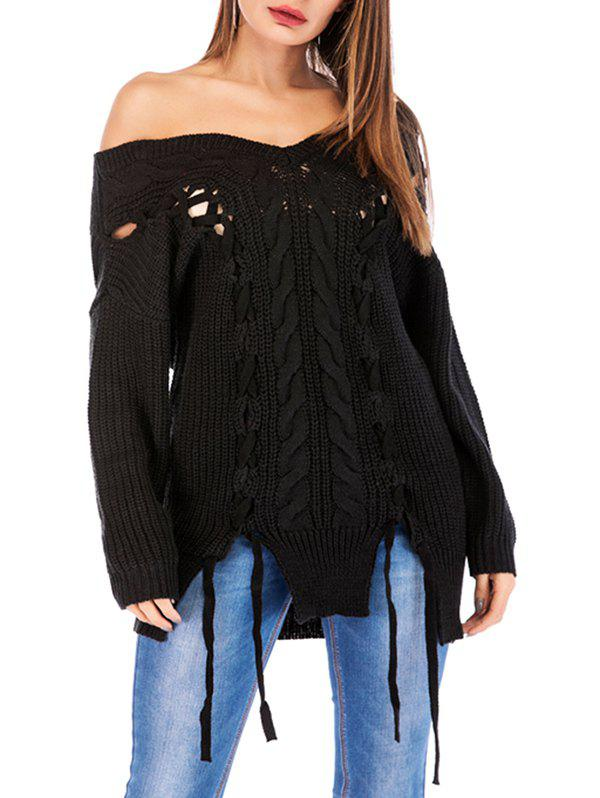 Lace Up Cable Knit Chunky Sweater - BLACK L