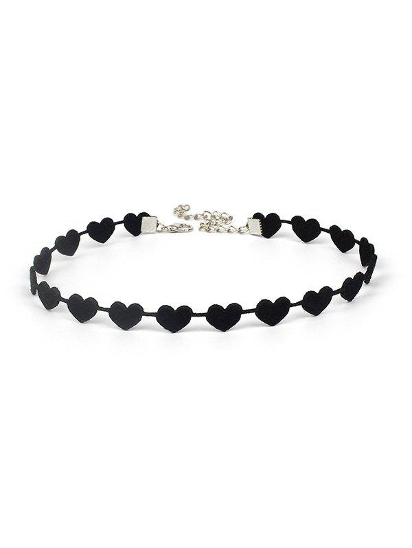 Velour Heart Choker Necklace - BLACK