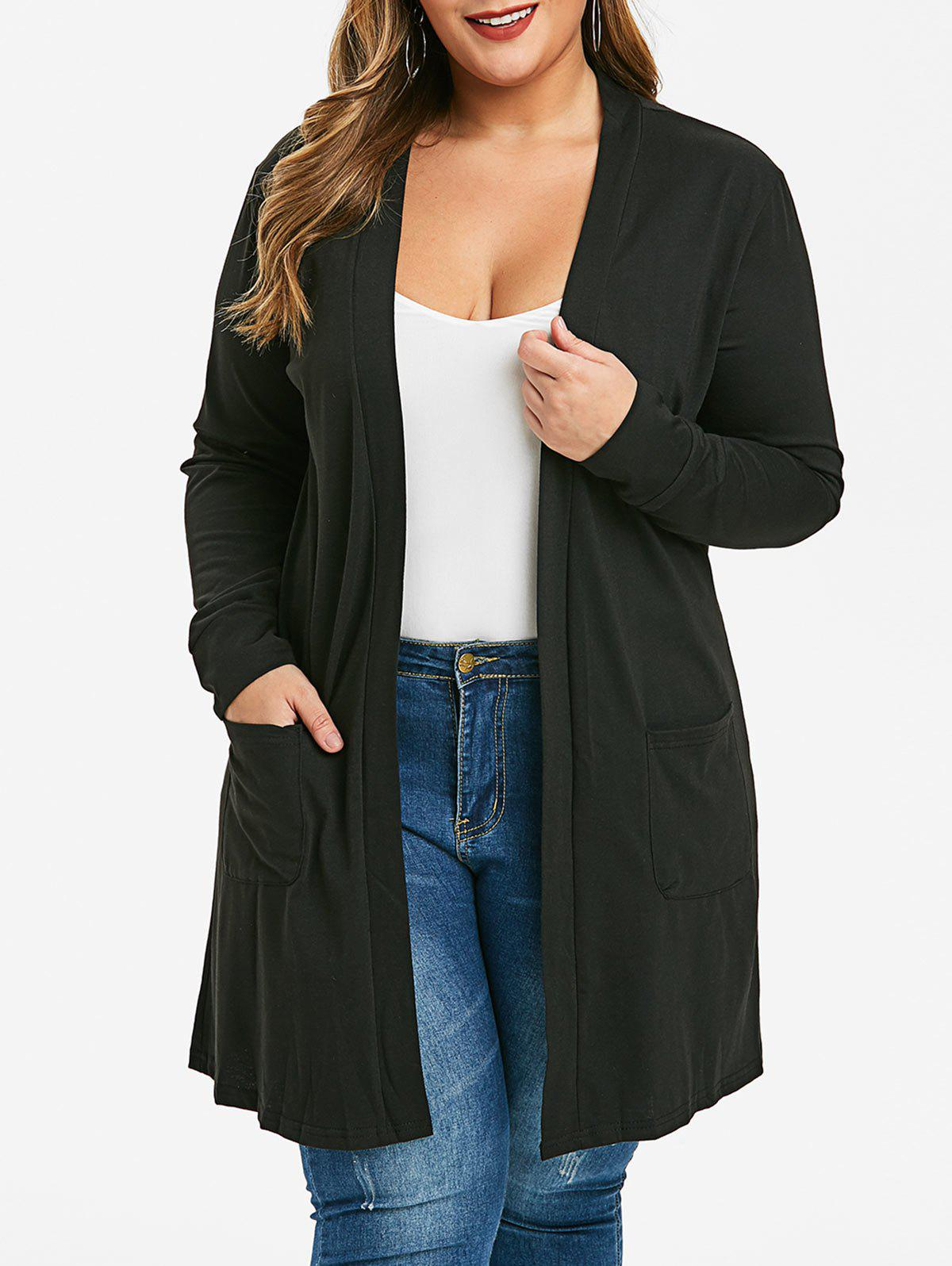 Plus Size Open Front Cardigan - BLACK 2X