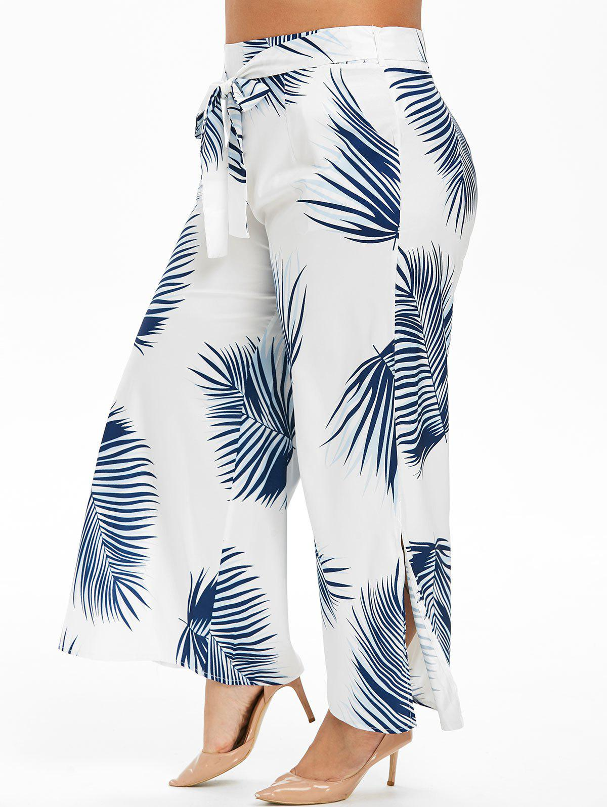 Leaves Print Slit Belted Plus Size Wide Leg Pants - WHITE 4X
