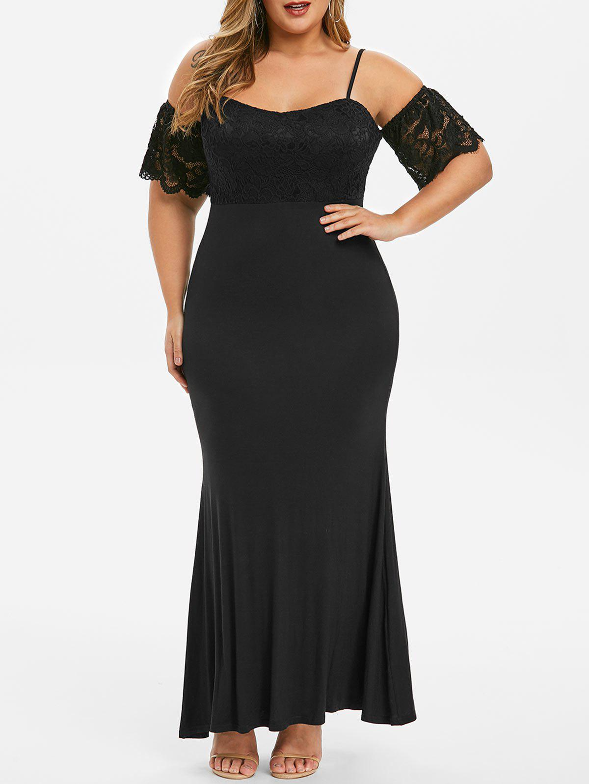 Plus Size Lace Panel Open Shoulder Long Prom Dress - BLACK 4X