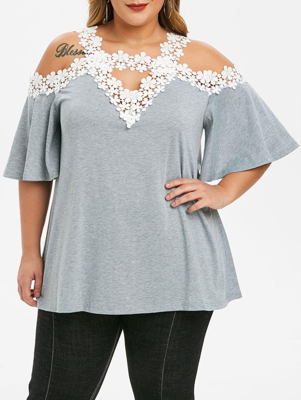 Plus Size Lace Crochet Cut Out Open Shoulder T-shirt