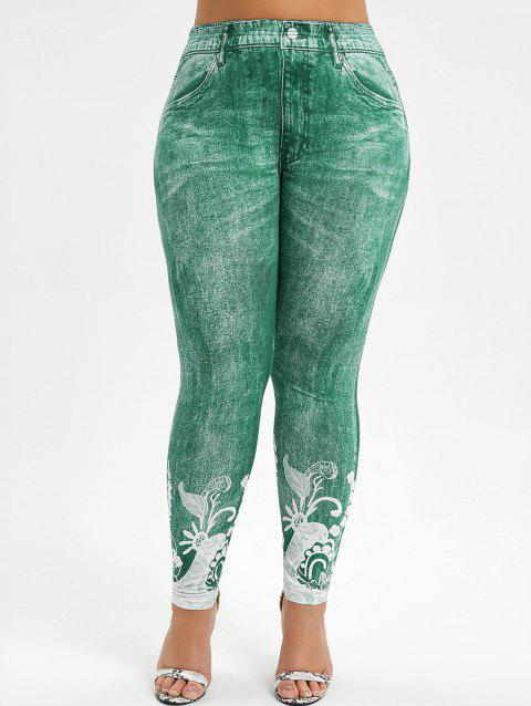 Printed High Waisted Plus Size Jeggings - GREEN L