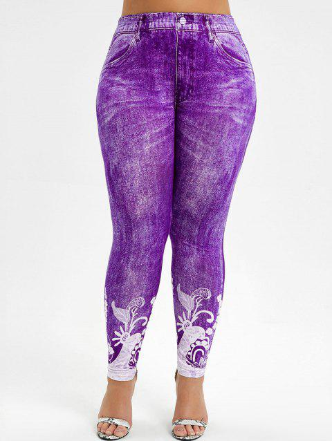 Printed High Waisted Plus Size Jeggings - PURPLE 3X