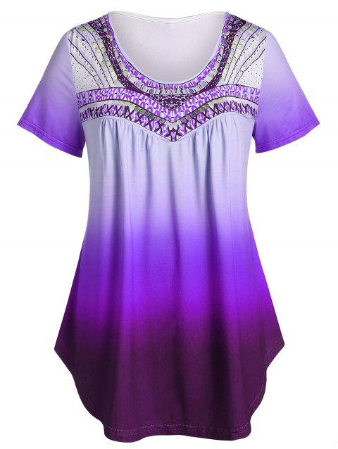 Plus Size Ombre Round Collar Tunic T Shirt - PURPLE FLOWER 3X