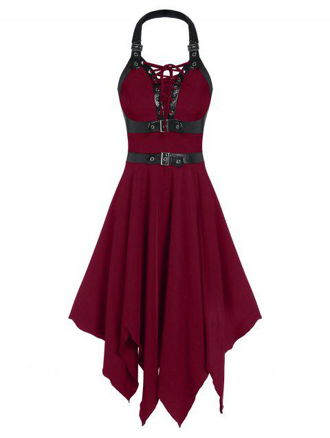 Faux Leather Strap Lace-up Cut Out Handkerchief Gothic Dress - RED WINE M