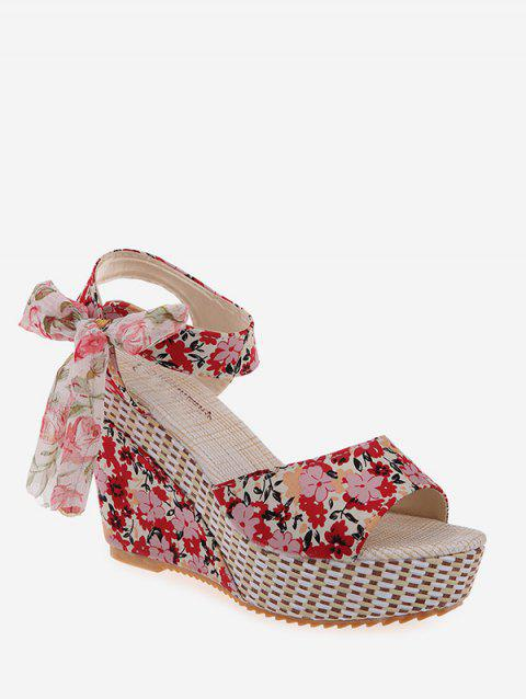 Bowknot Tiny Flower Wedge High Heel Sandals - RED EU 35