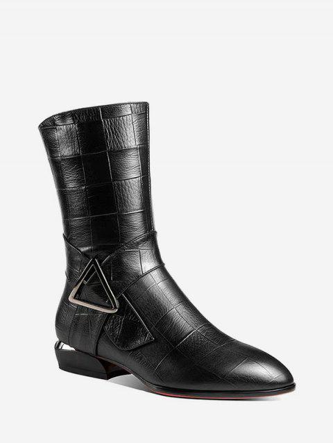 Geometric Embossed Low Heel Mid Calf Boots - BLACK EU 40