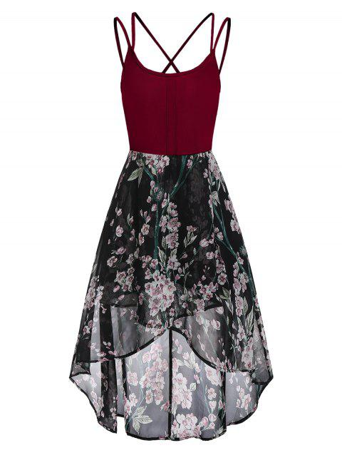 High Low Floral Cross Back Cami Dress - RED WINE 2XL