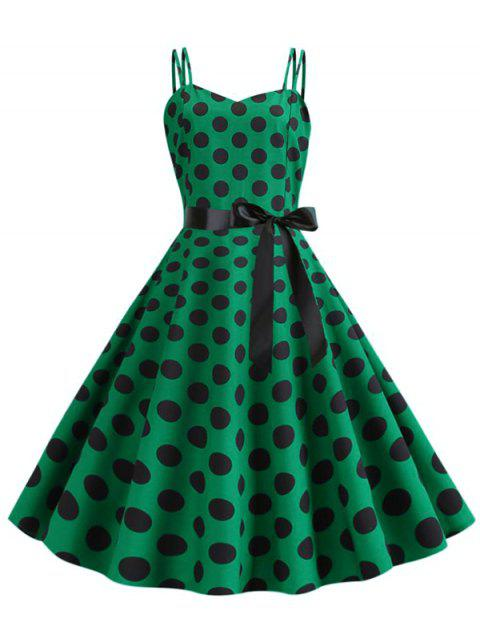 Polka Dot Belted Dual Straps Dress - MEDIUM FOREST GREEN 2XL