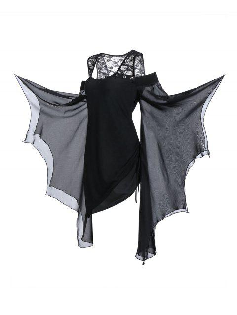 Plus Size Asymmetrical Butterfly Sleeve Cold Shoulder Gothic T-shirt - BLACK 5X