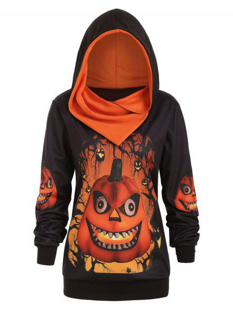 Plus Size 3D Pumpkin Print Convertible Halloween Hoodie - PUMPKIN ORANGE 2X