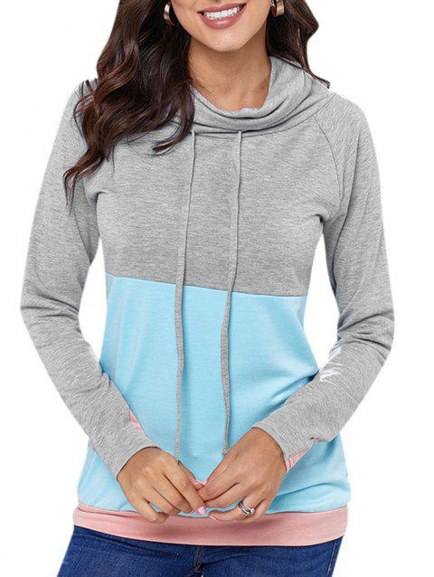 Color Block Drawstring Cowl Neck Sweatshirt