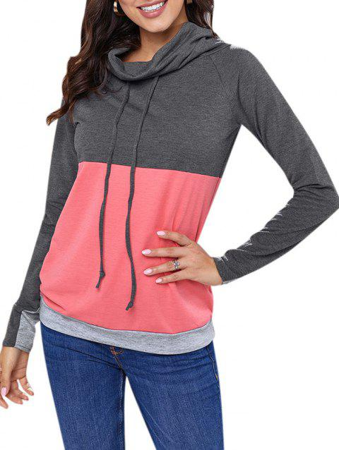 Color Block Drawstring Cowl Neck Sweatshirt - WATERMELON PINK 2XL