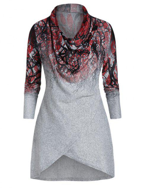 Cowl Collar Printed Tunic T Shirt - GRAY CLOUD 2XL