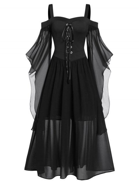 Plus Size Cold Shoulder Butterfly Sleeve Lace Up Halloween Dress - BLACK L