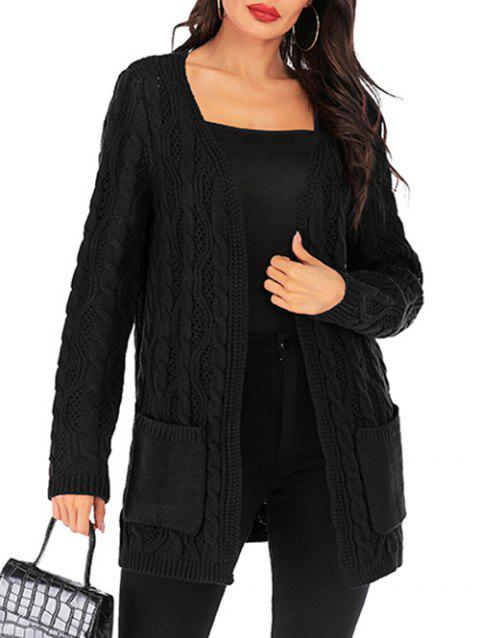 Pointelle Cable Knit Pocket Open Front Tunic Cardigan - BLACK M