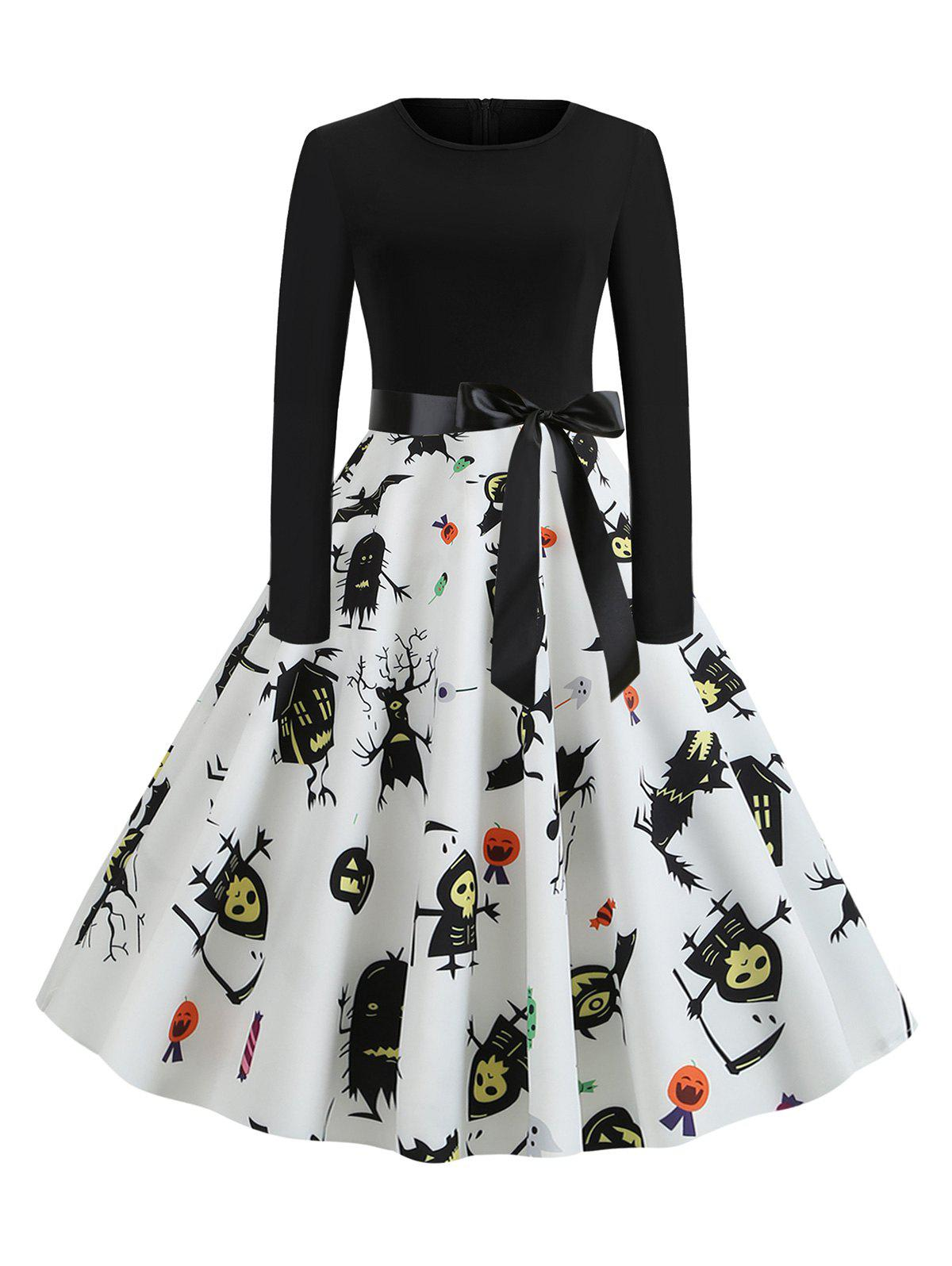 Halloween Ghost Skull Print Belted Dress - multicolor A XL