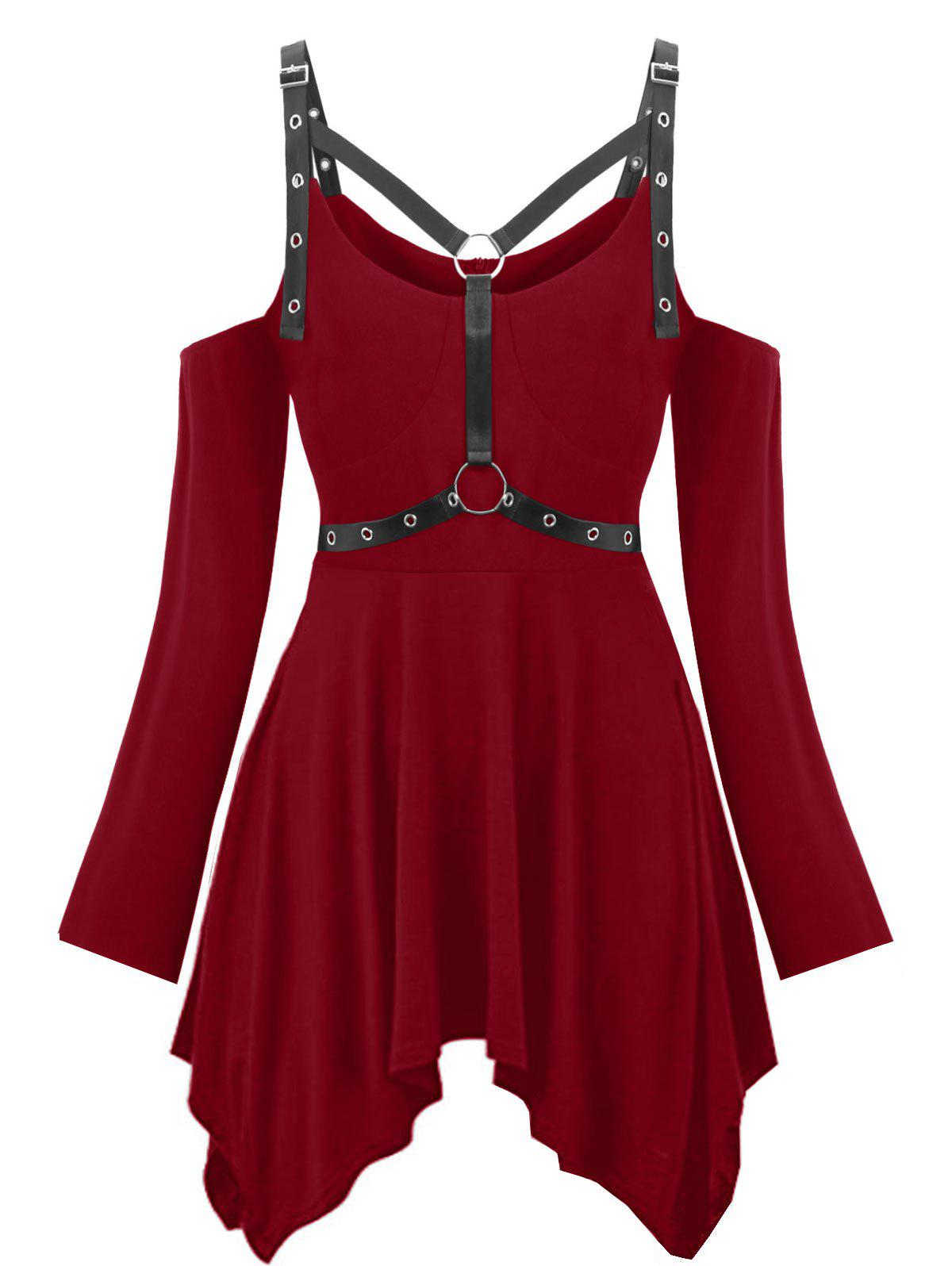 Plus Size Cold Shoulder Gothic Harness T-shirt - RED WINE 5X