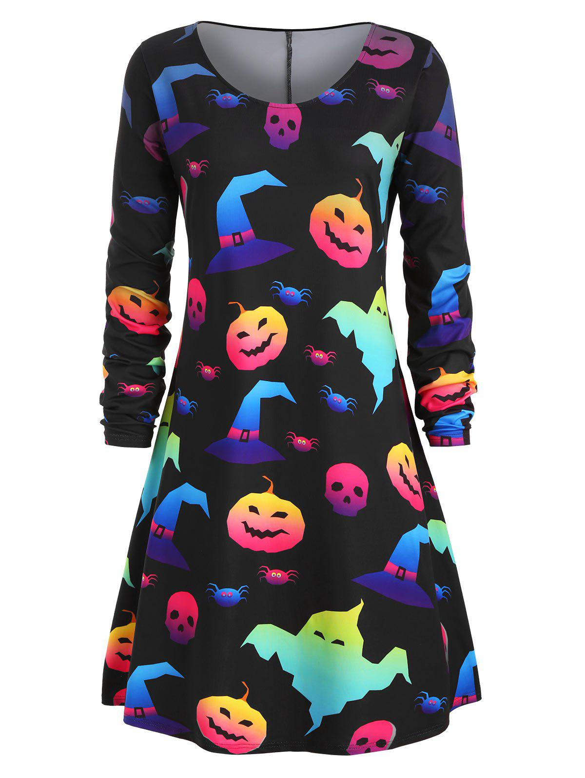 Plus Size Pumpkin Ghost Hat Print Halloween Dress - BLACK L