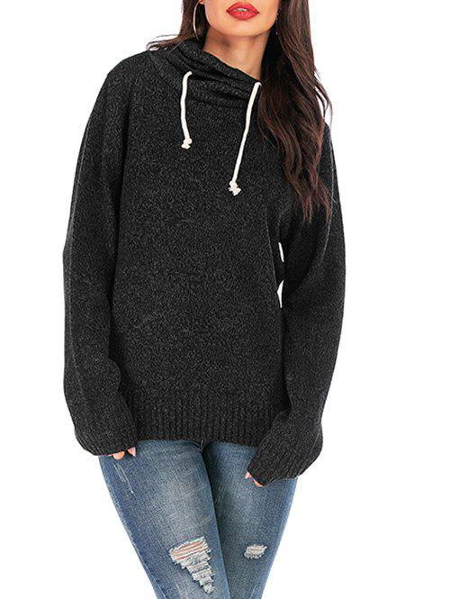 Drawstring Cowl Neck Boyfriend Knitted Sweater - BLACK XL