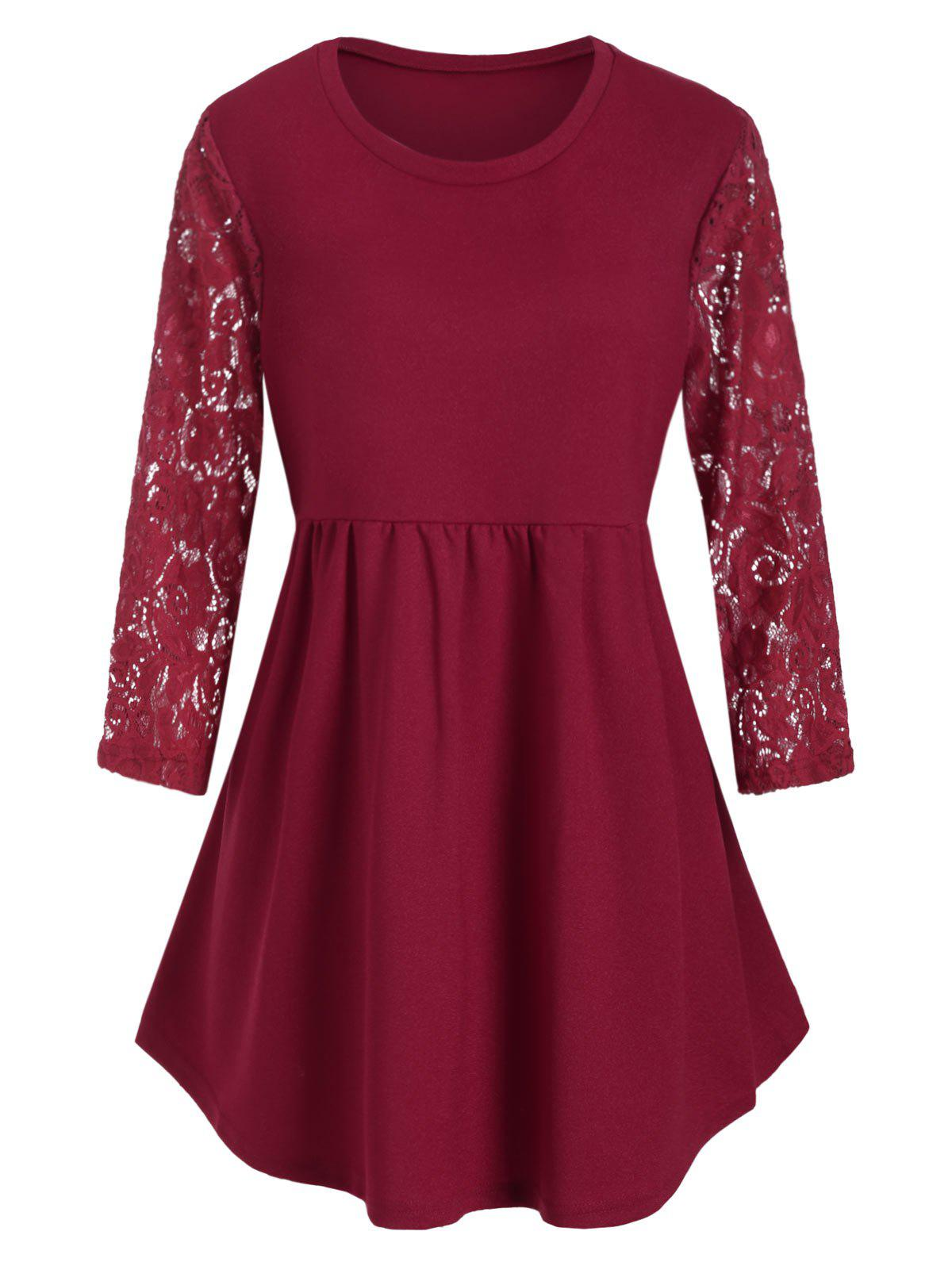 Plus Size Lace Sleeve Longline T-shirt - RED WINE 3X