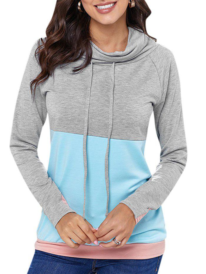 Color Block Drawstring Cowl Neck Sweatshirt - DAY SKY BLUE L
