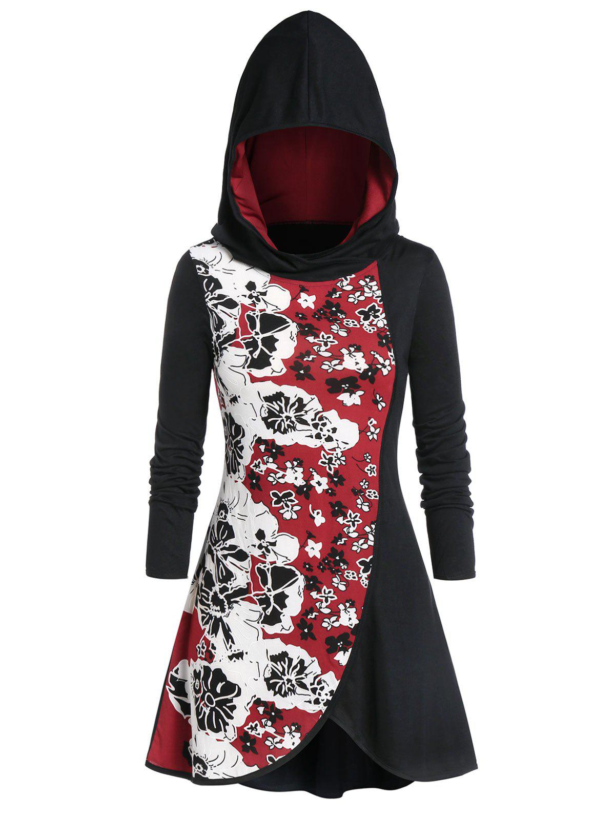 Plus Size Floral Print Spliced Hooded T-shirt - BLACK L