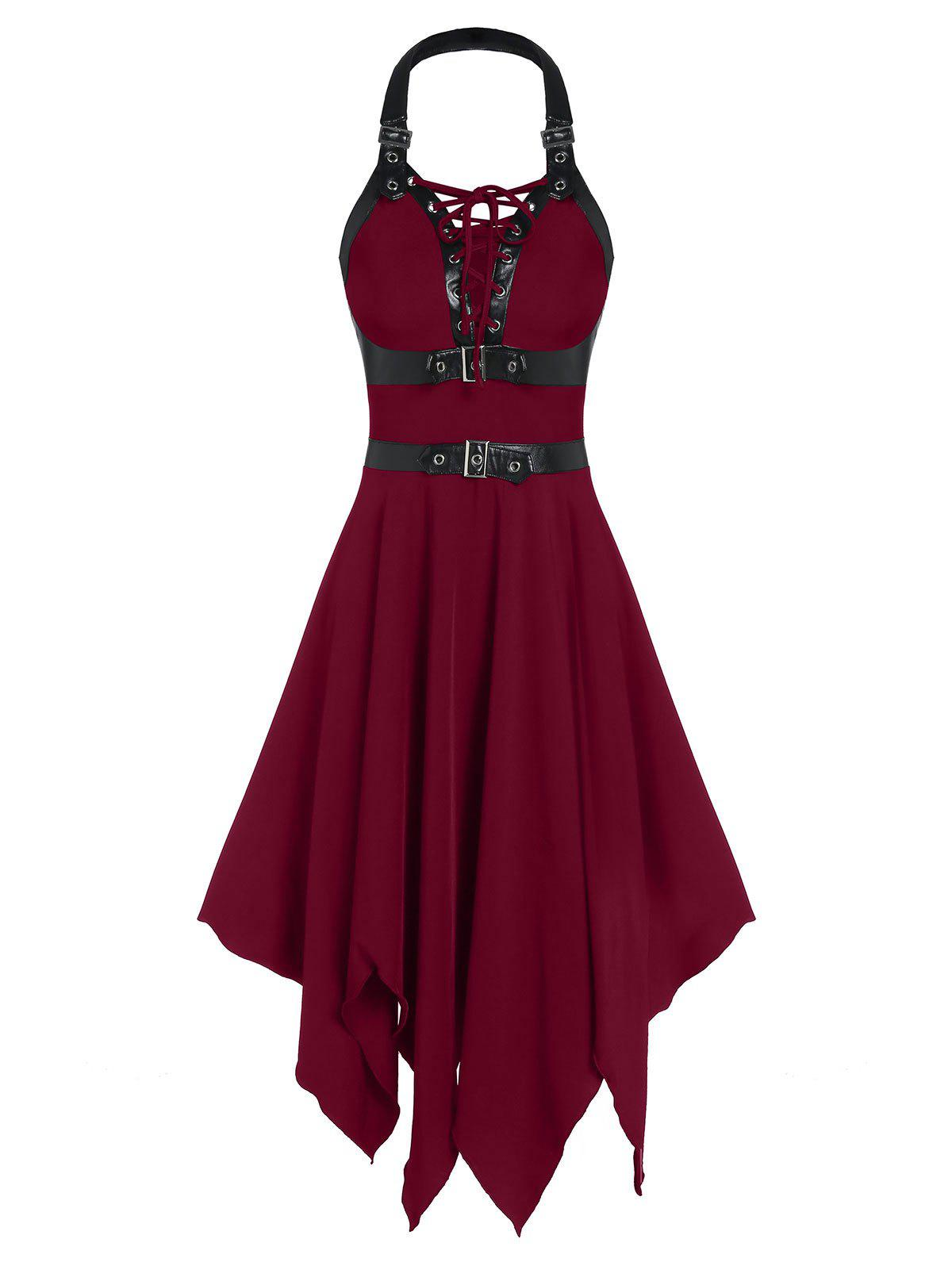 Faux Leather Strap Lace-up Cut Out Handkerchief Gothic Dress - RED WINE S