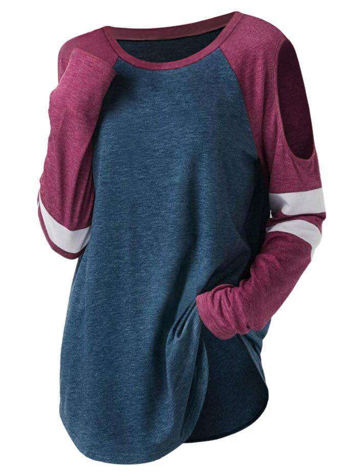 Plus Size Color Block Open Shoulder T-shirt - SILK BLUE L