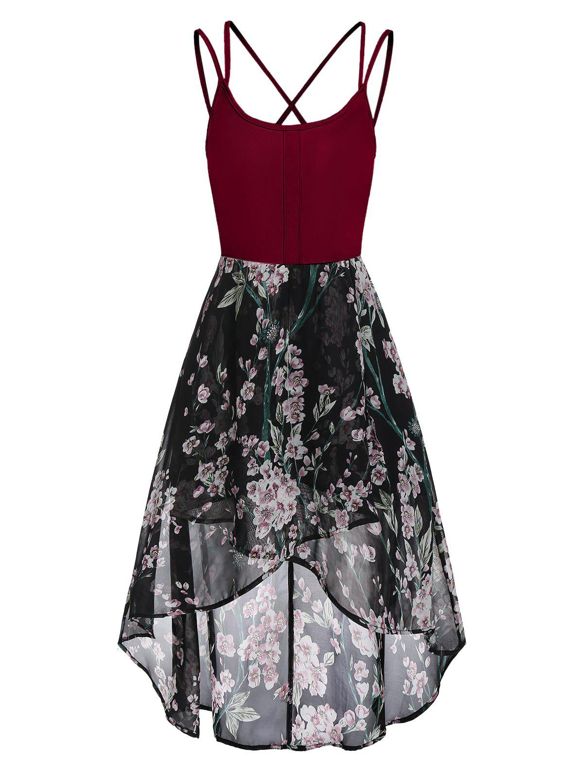 High Low Floral Cross Back Cami Dress - RED WINE 3XL