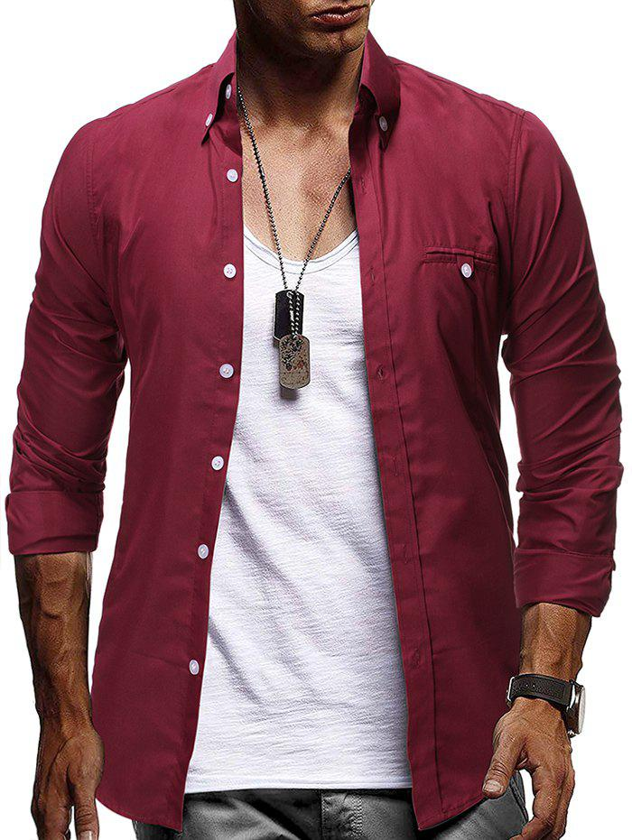 Plain Faux Pocket Design Button Up Shirt - RED WINE 3XL