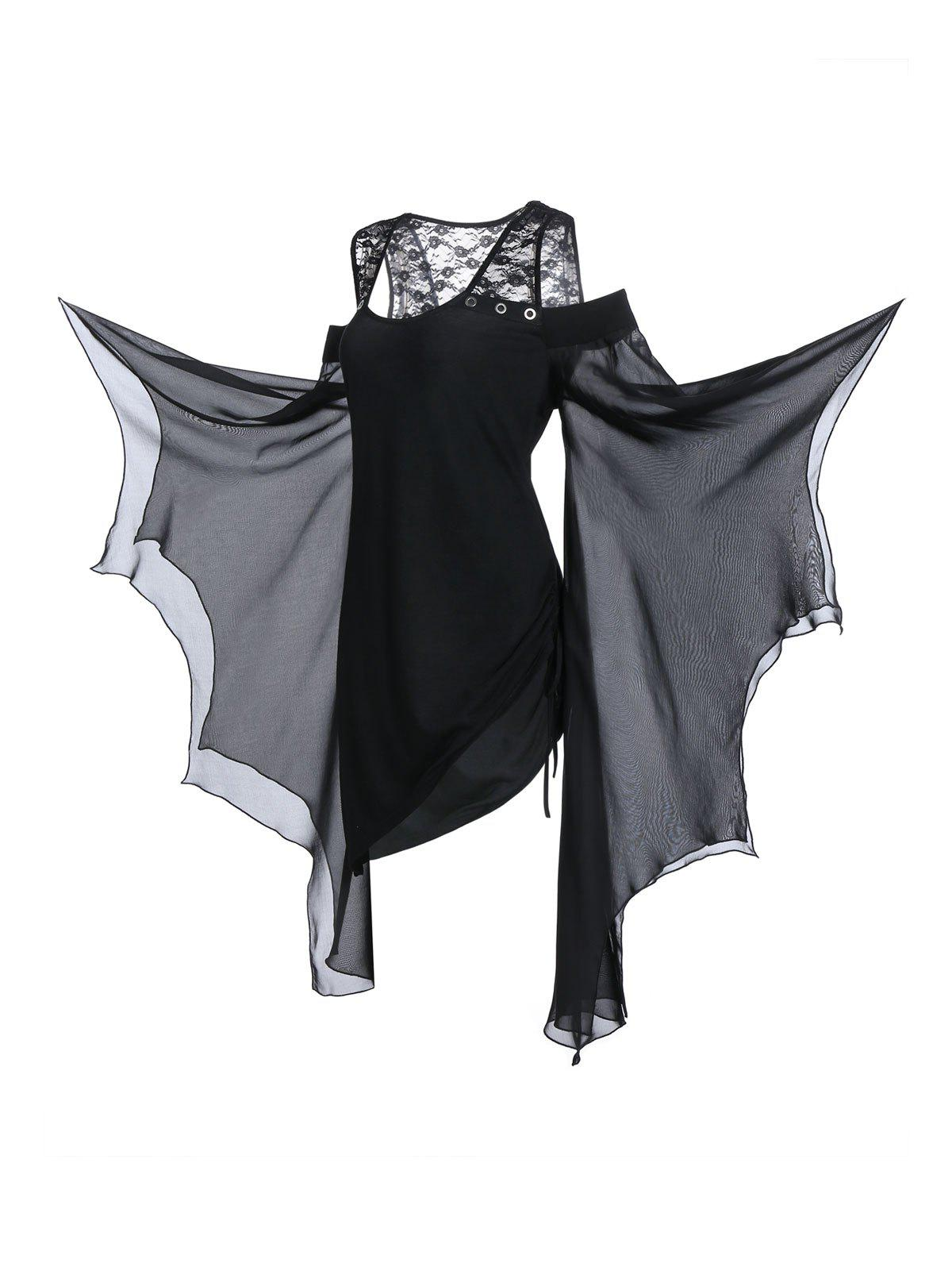 Plus Size Asymmetrical Butterfly Sleeve Cold Shoulder Gothic T-shirt - BLACK 3X