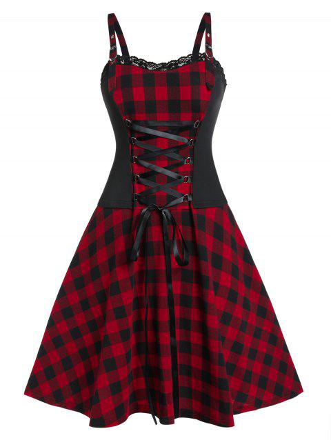 Plus Size Vintage Fit And Flare Plaid Dress - RED WINE 5X