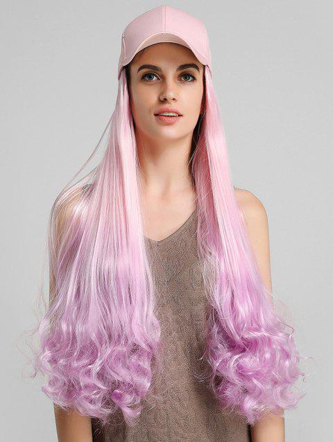 Ombre Curly Long Synthetic Hat Wig - BLOSSOM PINK