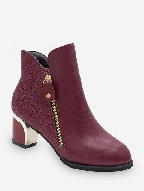 Embossed PU Chunky Heel Short Boots - RED WINE EU 36