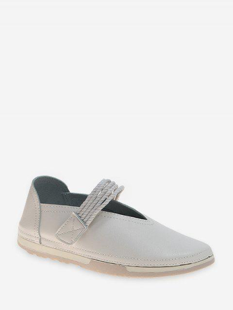 Soft PU Leather Casual Solid Flat Heel Shoes - WHITE EU 36