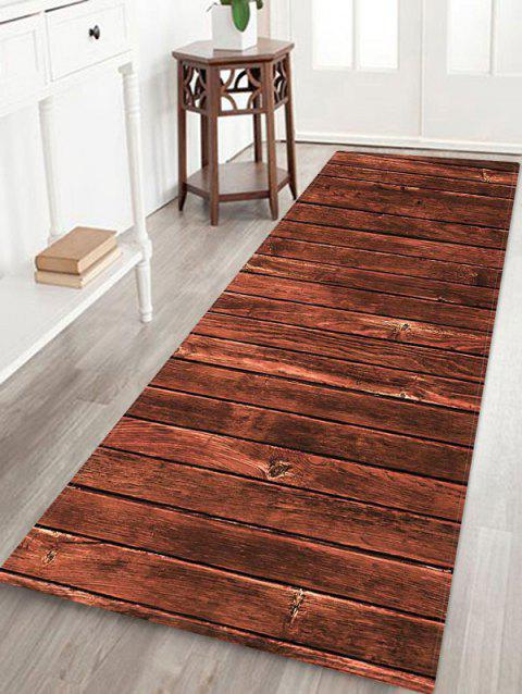 Wood Grain Board Flannel Printed Floor Rug - TIGER ORANGE W16 X L47 INCH
