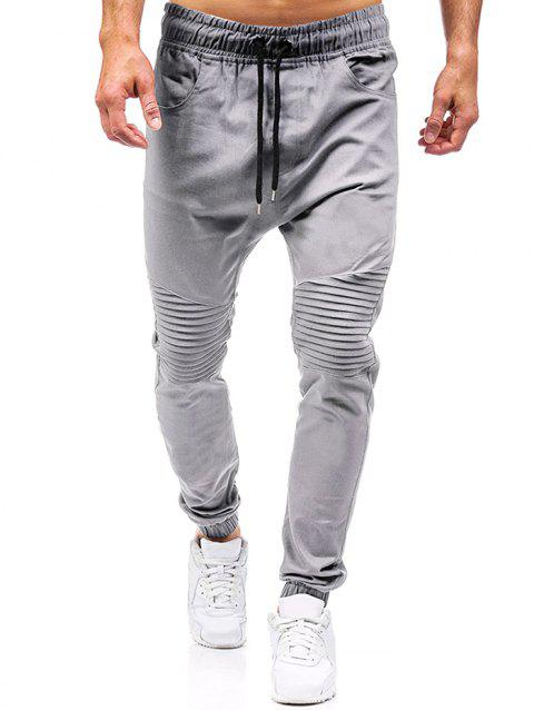 Pleated Design Plain Drawstring Jogger Pants - GRAY M