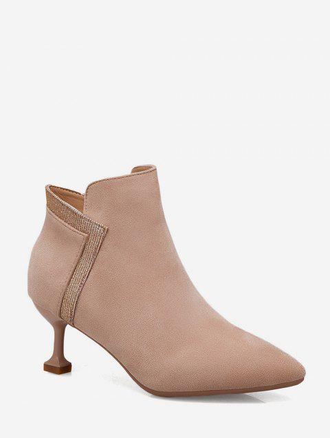 Strange Heel Pointed Toe Patch Ankle Boots - LIGHT KHAKI EU 35