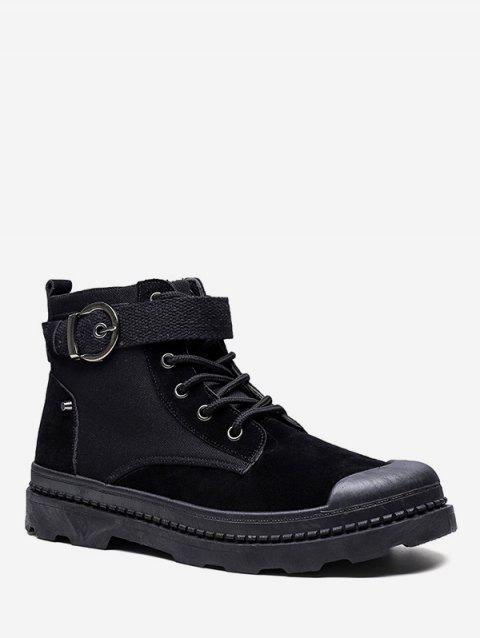 Buckled Lace Up Outdoor Ankle Boots - BLACK EU 41